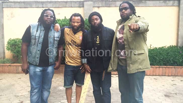 Born Africa (2nd L ) pictured with Morgan Heritage  in Kenya on Wednesday