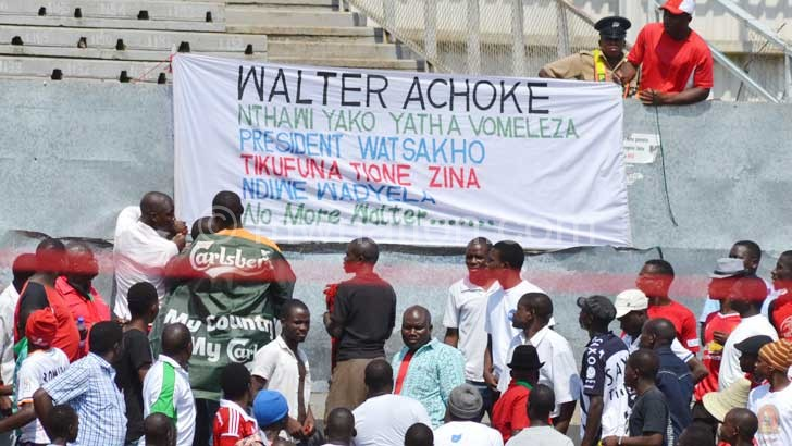 The placard which sparked controversy on the display in the stadium