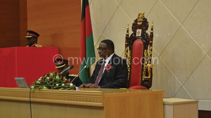 Mutharika delivering his speech in Parliament where he pledged  that ATI Bill will be tabled