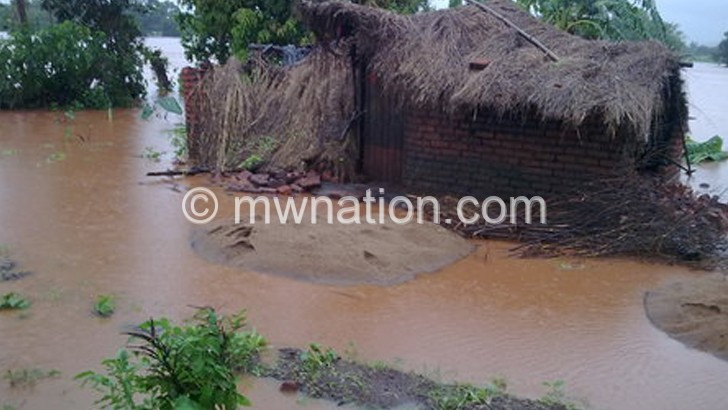 A house destroyed during floods  early this year