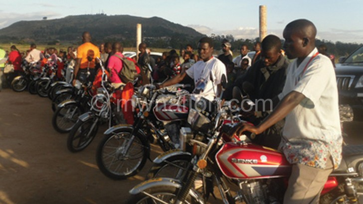 Motocycle taxis are popular in Mzuzu