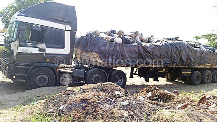 The impounded truck at zalewa
