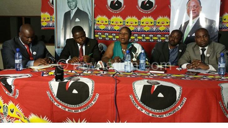 Setting the record straight: (L to R) Kasungu East MP Madalitso Kazombo, Chakwantha, Kabwila, Menyani and Nkhata during the news conference yesterday