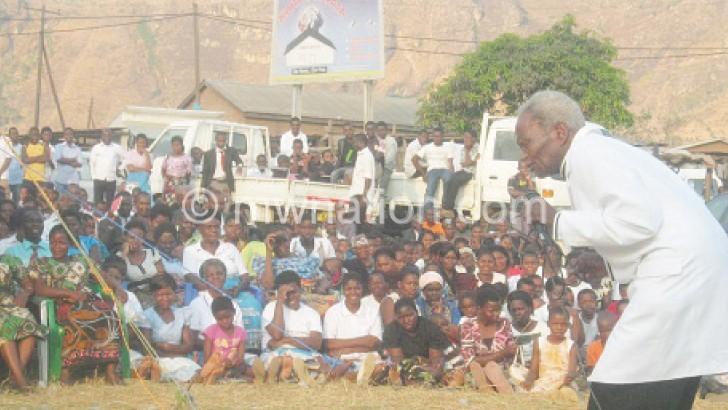 Wame preaching at a crusade in Ndirande