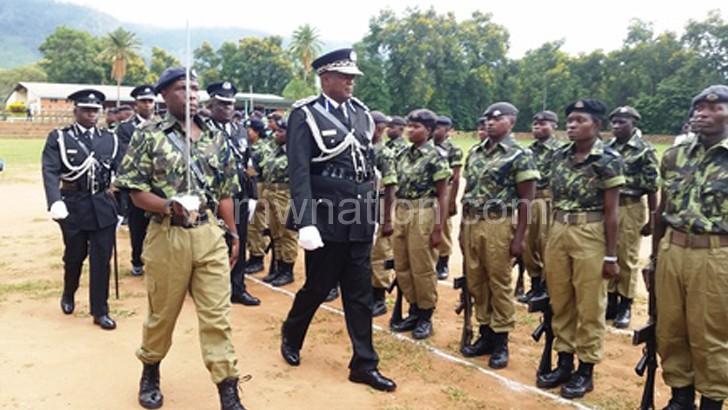 Kachama inspecting a parade in Zomba