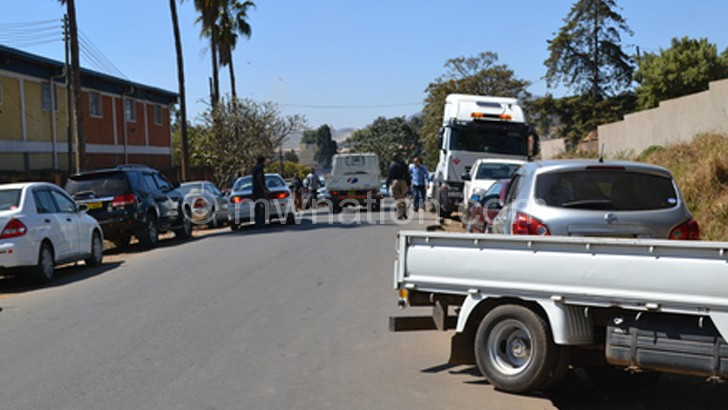 Vehicles queue outside Blantyre DRTSS offices