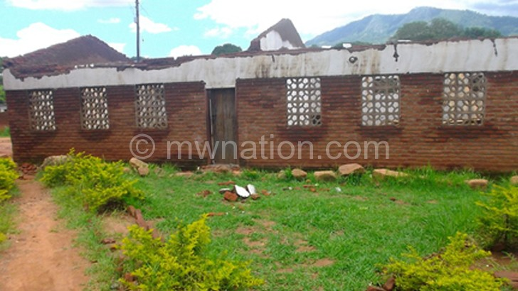 A classroom block at Sadzi CDSS destroyed by winds