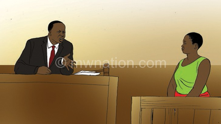 An artistic impression of a woman testifying in court