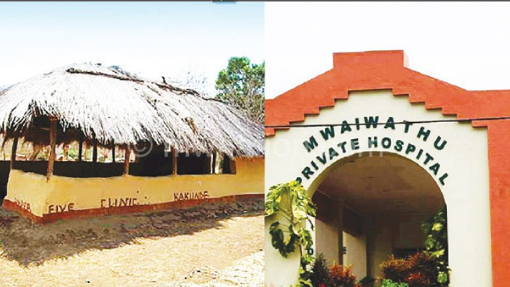 Contrasting fortunes: Kakunde under-five clinic in Chitipa (L) helps surrounding villages access children's health services while Mwaiwathu Private Hospital in Blantyre offers high quality healthcare for the privileged
