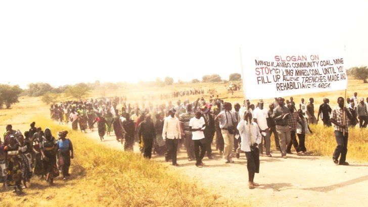 Communities in Karonga demonstrating for increased share in mining spoils
