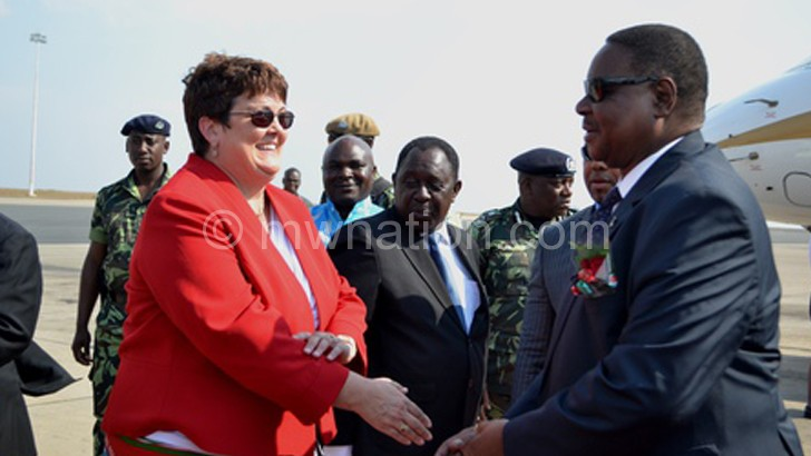 Mutharika and Palmer during an earlier meet: Her government wants Malawi to respect international commitments