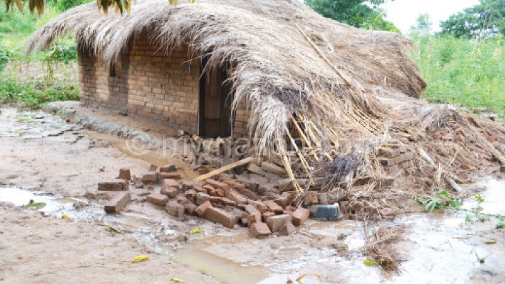 A house that collapsed during the floods  in Nsanje early this year