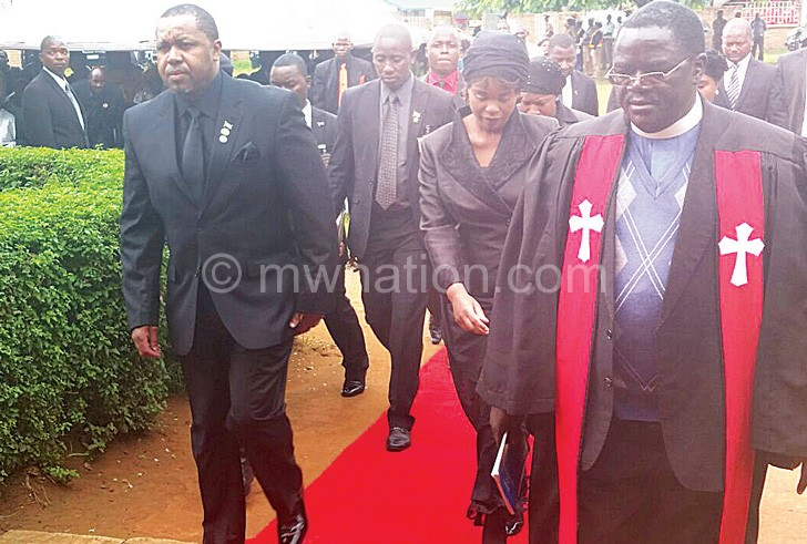 Nyondo (R) leading Chibambo's funeral procession
