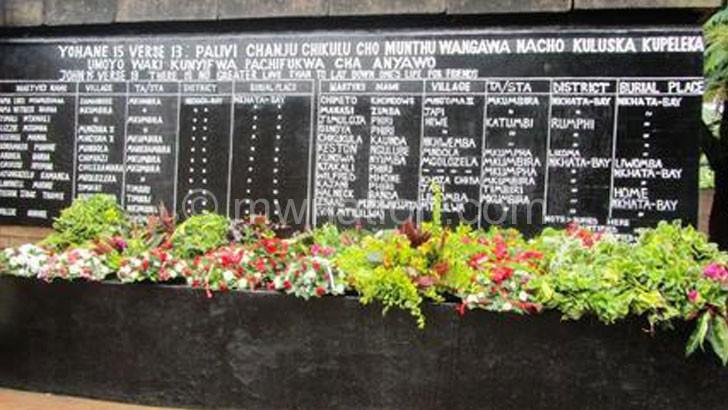 Remembering the martyrs: The memorial  pillar at Nkhata Bay