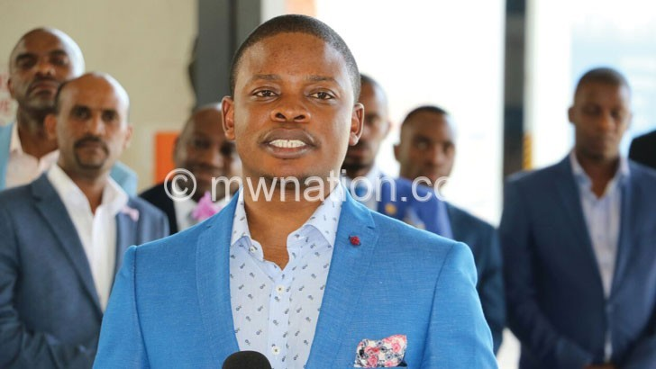 Prophet Bushiri speaks with an audience during a meeting at his base in South Africa recently