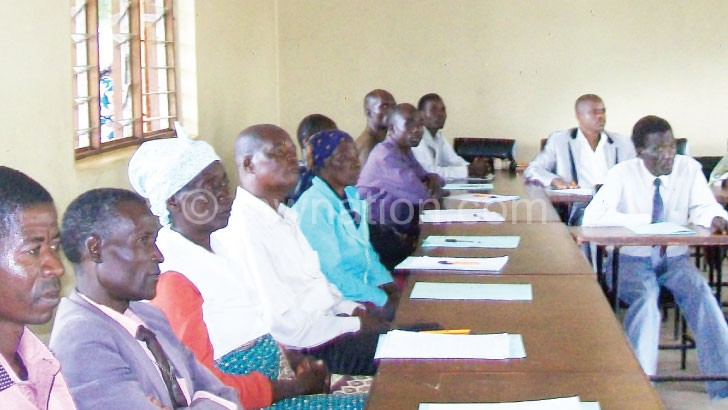 Chiefs drawn from Mulanje listen to presentations during the meeting