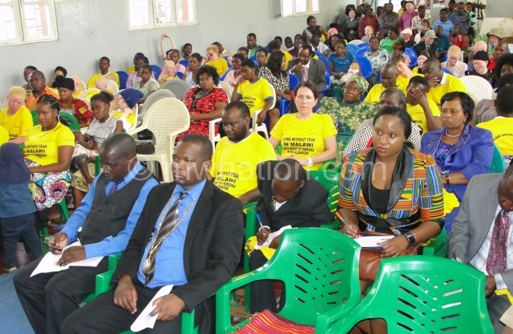 Patrons to an earlier awareness meeting against attacks on albinos in Blantyre