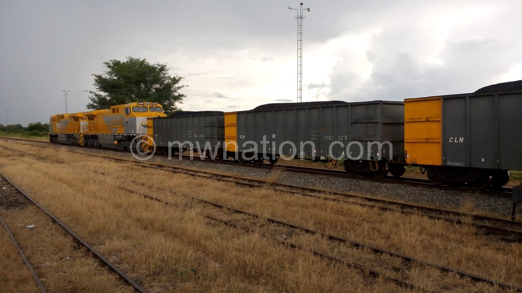 Wagons captured at Entre Lagos in Mozambique moving coal to Nacala