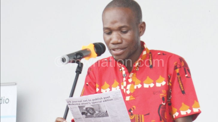 Khondiwa recites a piece during the launch
