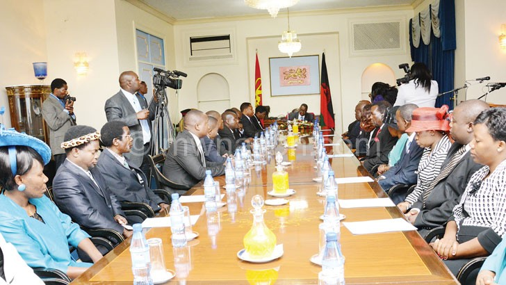 Mutharika (Facing camera) and his male-dominated Cabinet after the swearing ceremony