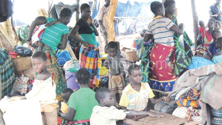 New arrivals waiting for registration at Kapise Refugee Camp