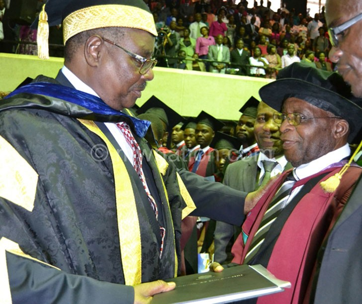 Congratulations: Mutharika confers the honorary degree on Tembo