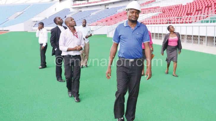 Sports Ministry officials inspecting the stadium last week
