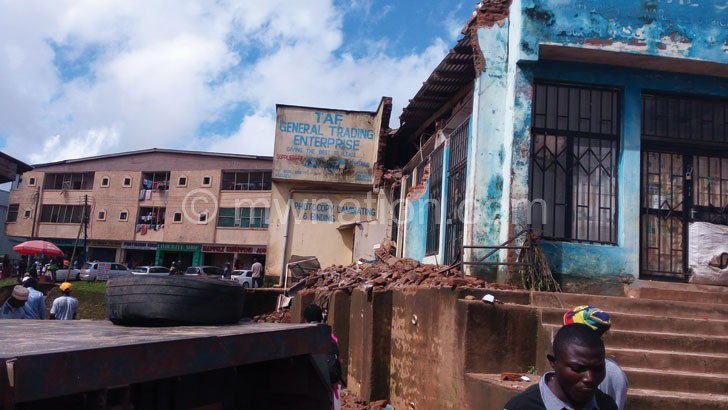 Part of the collapsed building in Mzuzu