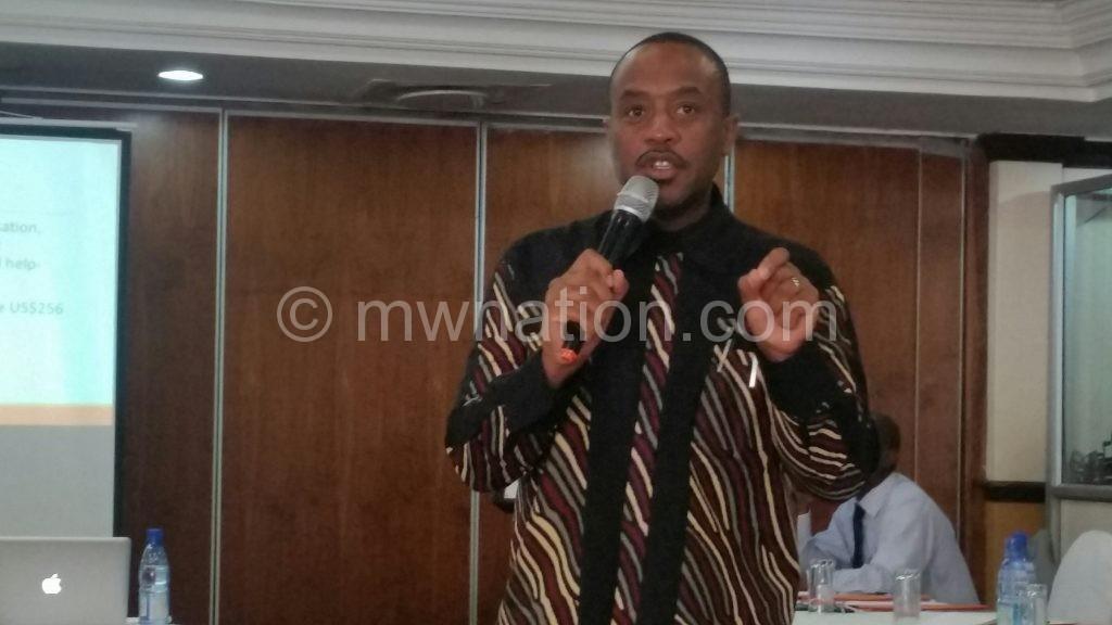 Bandawe making a presentation during the workshop