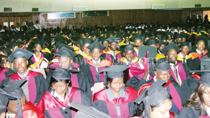 Graduands celebrate after getting a college degree at Chanco