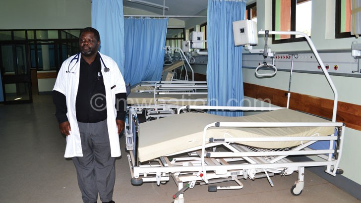 Ngoma stands in the new ICU yesterday