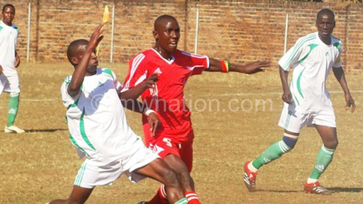 Not sustainable:  Red Lions (in red) and Moyale Barracks battling it out in Super League