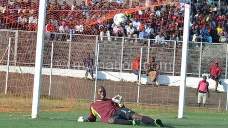 Marine keeper Dan Ponti lies helplessly on the turf after conceding  a goal against Bullets