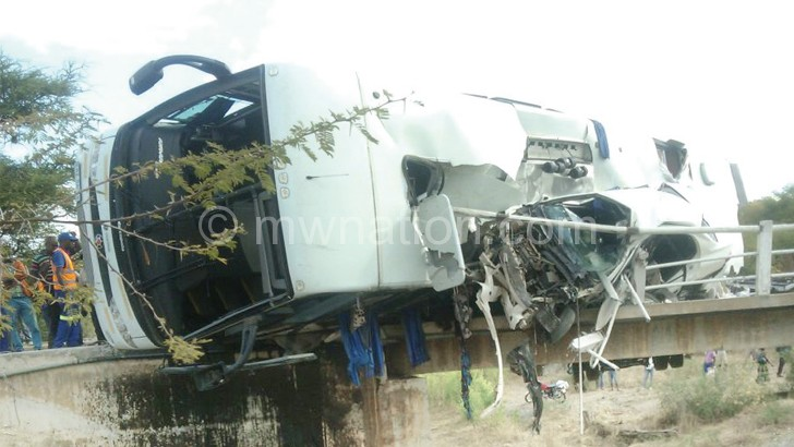 Wreck of the bus at the accident scene