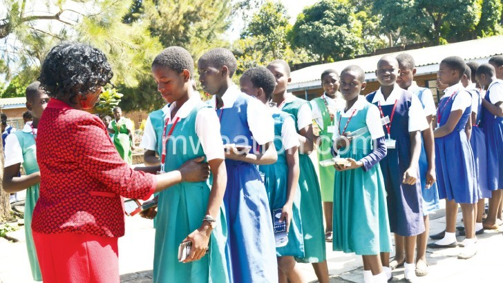 School girls in Blantyre get ready for their Standard Eight exams this year