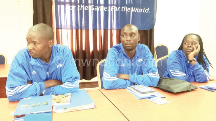 Some of the participants: Hethwin Mkumbaleza (L) Padambo (C)  and Chombo-Sidiki captured during the course