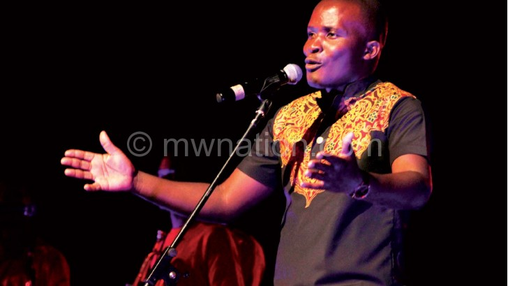 Sangwani sings his heart out during the album launch at Bicc in Lilongwe last week