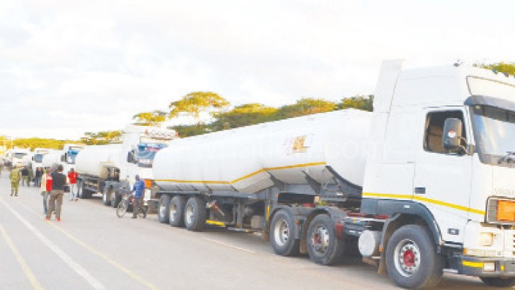 Truck drivers arrive in Lilongwe with fuel from Zambia during a  crisis in the late Bingu wa Mutharika's era