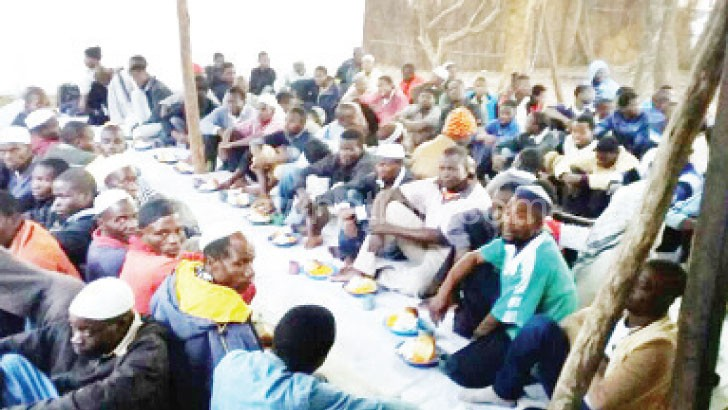 Muslims eating break the fast of the day