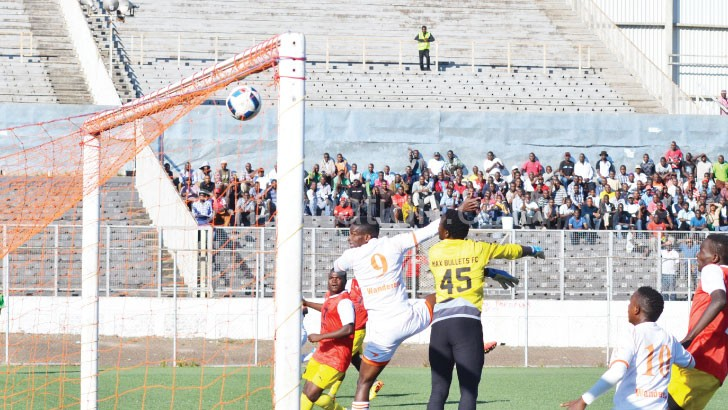 Not a goal: The Nomads' Luka Milanzi had a goal denied