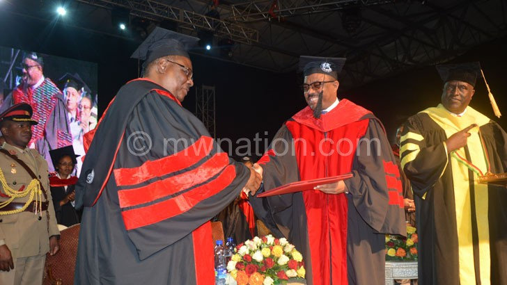 Mutharika being conferred the degree