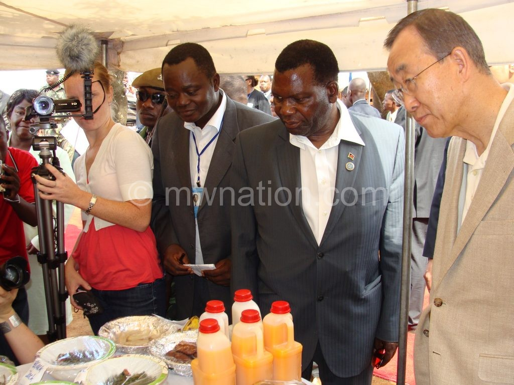 Ban is seen with Chaponda and other dignitaries during his 2010 visit
