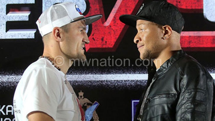 Chilemba (R) and Kovalev face off during pre-fight news conference on Saturday