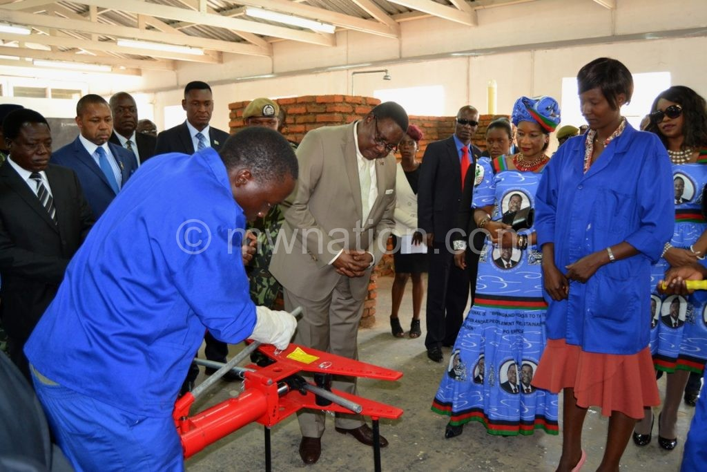Mutharika is championing community colleges  for skills development