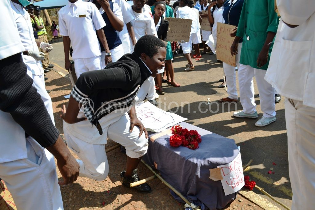 The students pretend to be mourning fees hike at Lilongwe Civic Offices