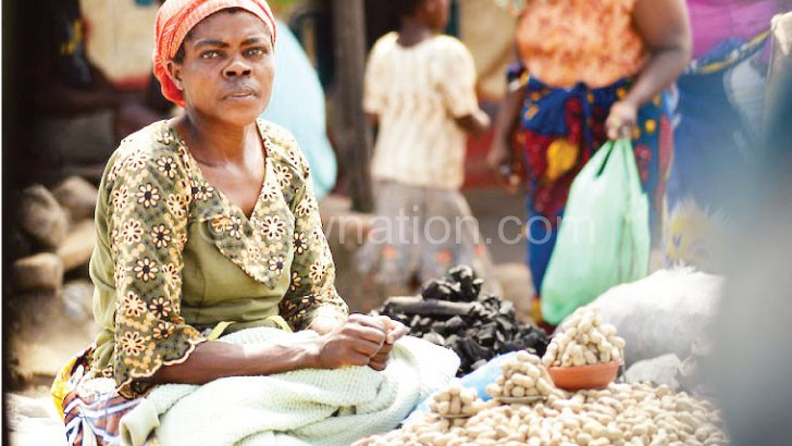 A woman selling groundnuts in Blantyre