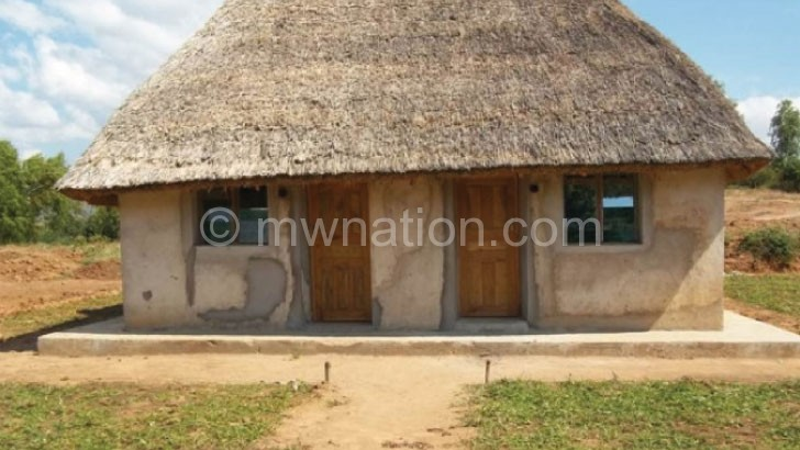 """A finished home built using """"earth bag"""" construction technique in Rumphi"""