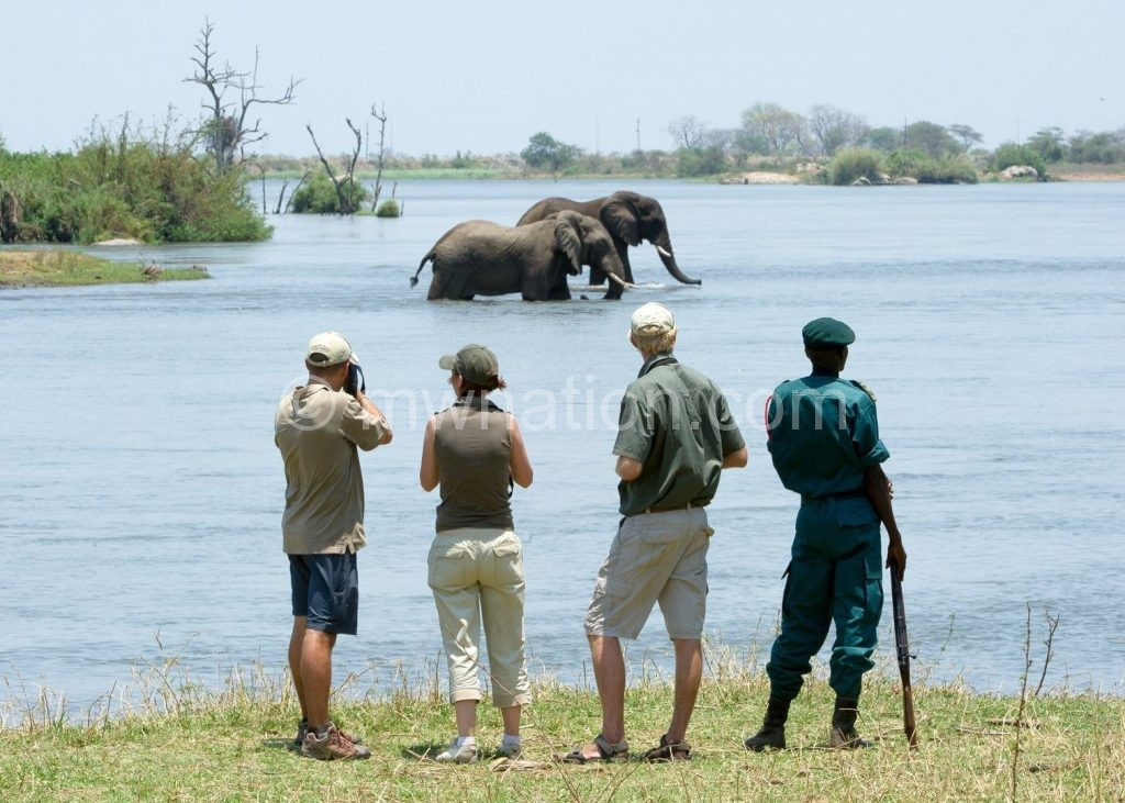 Tourists sightseeing at Majete Wildlife Reserve