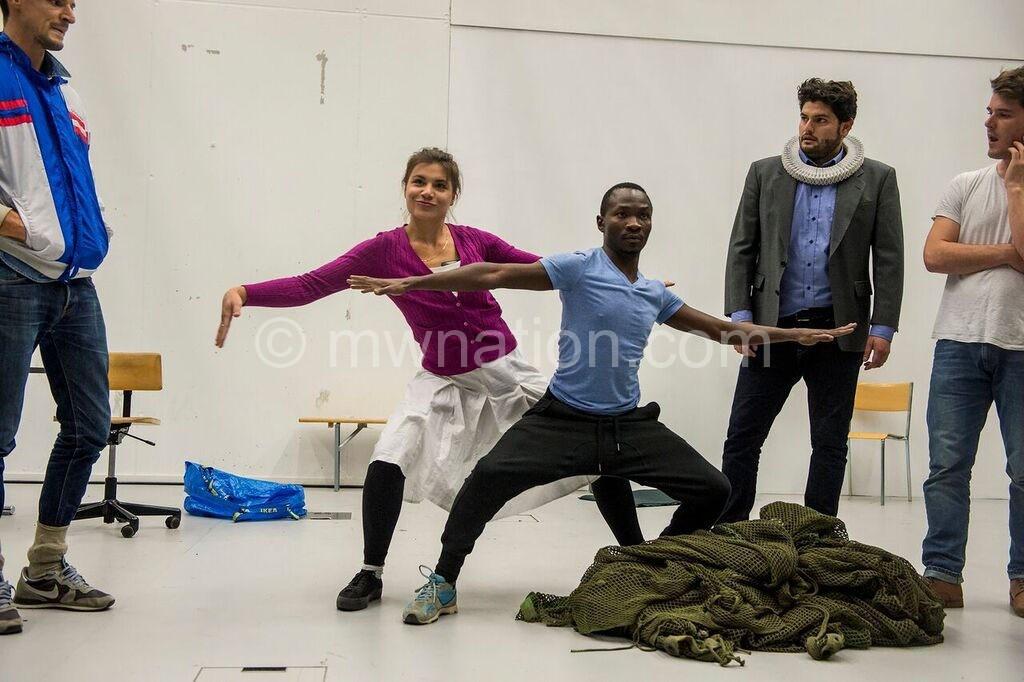 Mwambene and his Swedish co-actors in rehearsal
