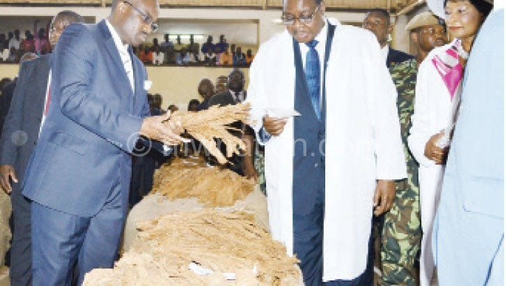 Mutharika inspects the leaf at the start of 2015 tobacco marketing season